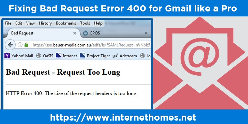 Bad Request Error 400 for Gmail