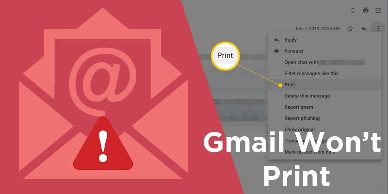 Gmail won't print
