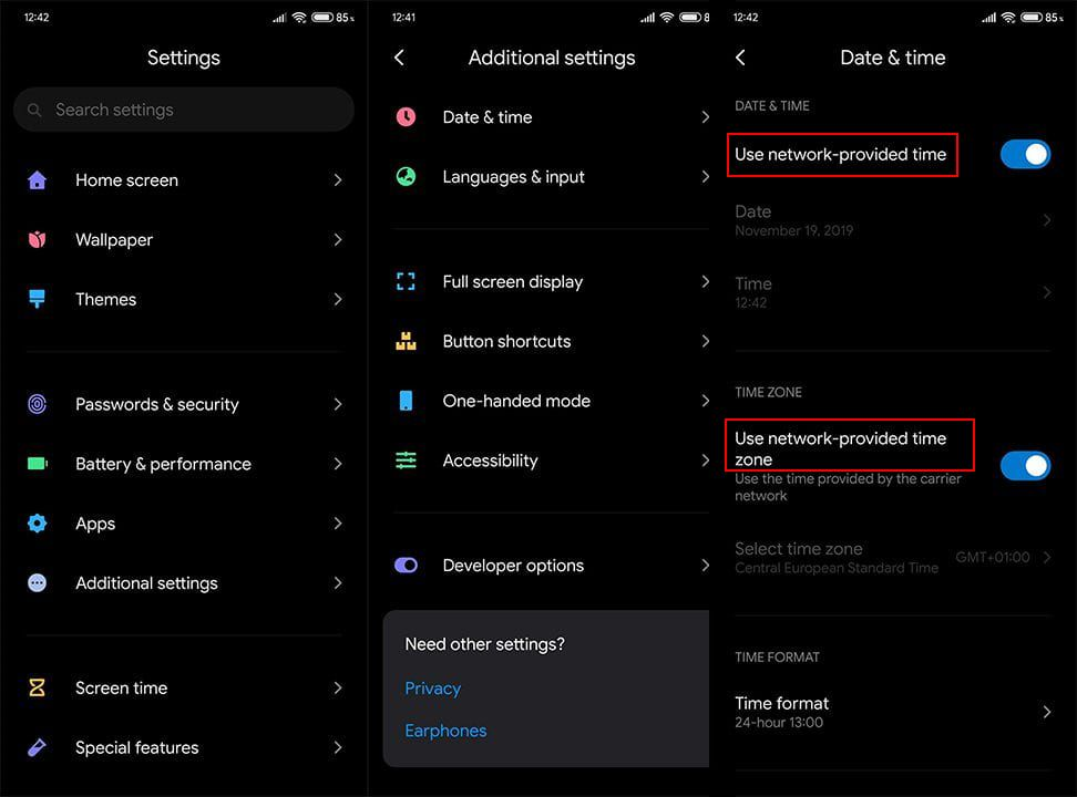 Verify the time on Android device